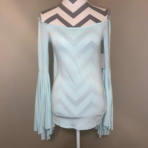 Free People Mint Colored Off the Shoulder Shirt